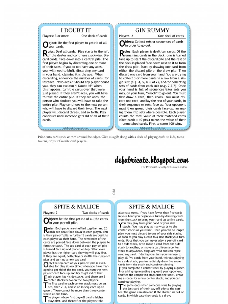 Free Printable Playing Card Instructions 6 Card Games