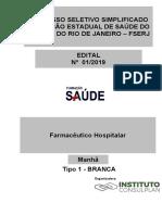 FARMACÊUTICO HOSPITALAR – TIPO 1 – BRANCA