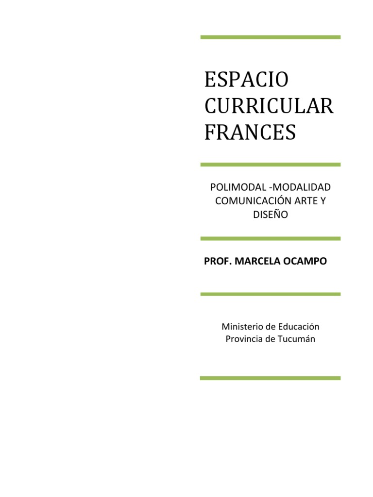 Diseño curricular Francés - TUCUMAN- Prof. Marcela OCAMPO
