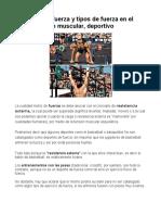 2. Tipos de fuerza en el entrenamiento muscular