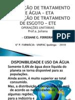 ESTAÇÃO DE TRATAMENTO DE ÁGUA – ETA e ESTAÇÃO DE TRATAMENTO DE ESGOTO – ETE