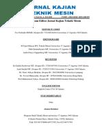 Susunan Team Editor Jurnal Kajian Teknik Mesin