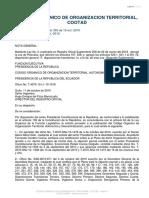CODIGO ORGANICO DE ORGANIZACION TERRITORIAL, AUTONOMIA Y DESCENTRALIZACION