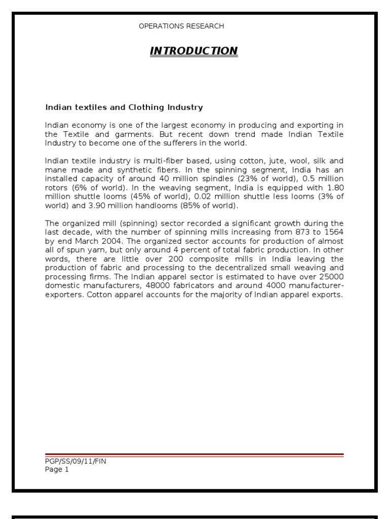Operations Research Report   Cotton   Silk