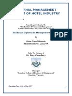 ANALYZE HOTEL MANAGEMENT SYSTEM IN ZANZIBAR
