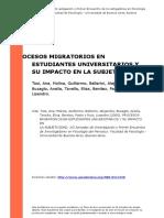 Procesos Migratorios en Estudiantes Universitarios y Su Impacto en La Subjetividad. Tosi, Ana, Molina, Guillermo, Balleri (..) (2005).