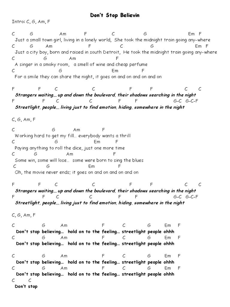 Uke chords - Don\'t Stop Believin
