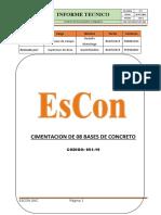 INFORME - INSTALACION DE 8 BASES DE CONCRETO