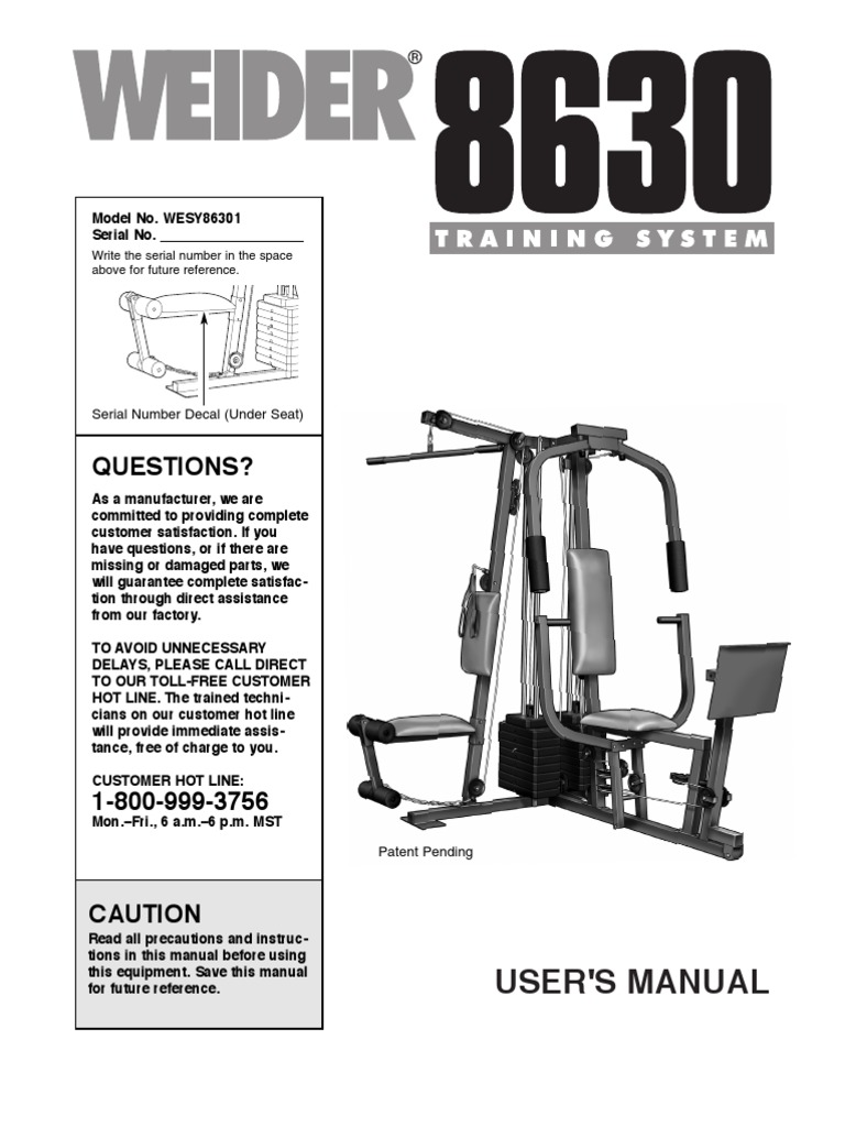Weider 8630 manual nut hardware screw pooptronica Image collections