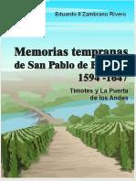 Memorias de San Pablo de Bomboy Timotes y La Puerta de Los Andes Por Eduardo II Zambrano