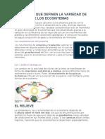 ELEMENTOS QUE DEFINEN LA VARIEDAD DE ESPECIES DE LOS ECOSISTEMAS