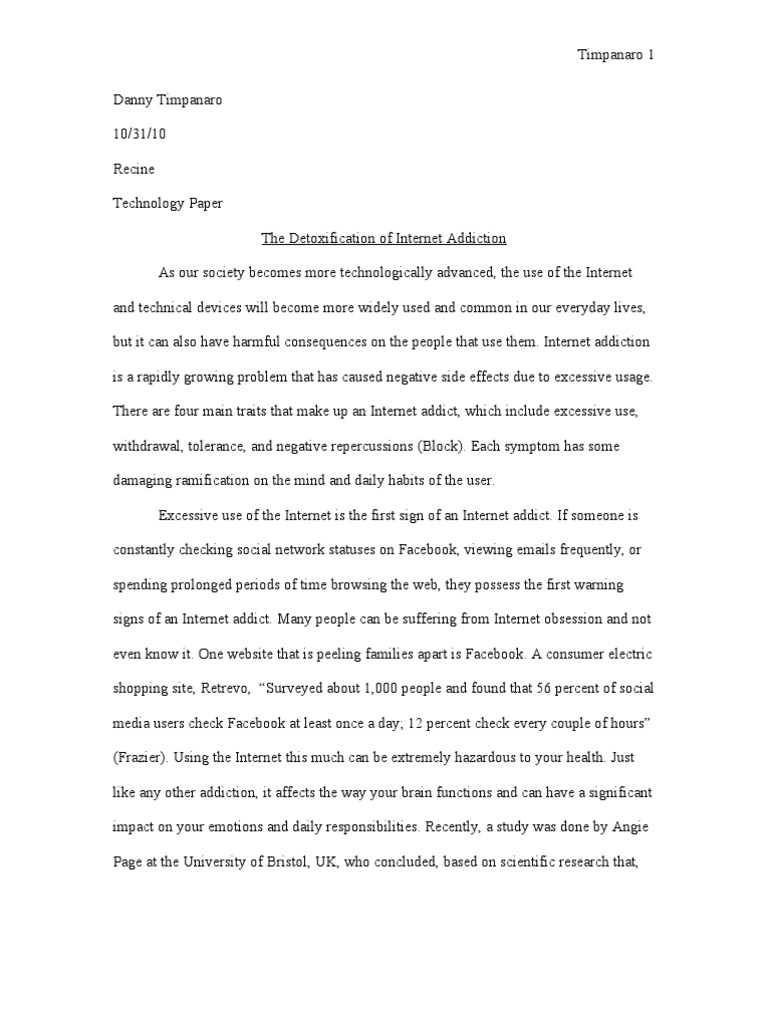 internet addiction essay with outlines