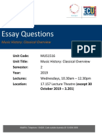 MUS1516 Essay Questions 2019v1.1