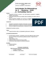 PLAN DE ACTIVIDADES MATEMATICAS GRADO 9 -2020 RESUELTO