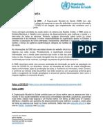 Declação da OMS sobre caso de COVID 20.03.20