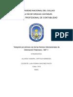 ADOPCION POR PRIMERA VEZ DE LAS NORMAS INTERNACIONALES DE INFORMACION - NIIF 1