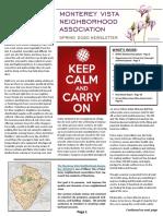 Spring 2020 Newsletter - Monterey Vista Neighborhood Association