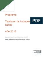 Programa Teoría en Antropología Social 2018