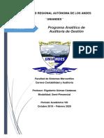 Programa Analítico - Auditoría de Gestión