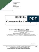 UPB-ESI. 2016 - 2017. TC 2. Communication d'entreprise. Par Dieudonné SANOU. Consultant sénior, Directeur Général de l'AGENCE DEDSON OFFICE.pdf