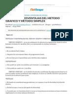 VENTAJAS Y DESVENTAJAS DEL METODO GRAFICO Y METODO SIMPLEX - Ensayos - Juan Carlos Arellano Shigeno