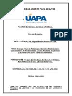 Trabajo Final de Penología y de Derecho Penitenciario, Luis Daniel Reyes, Leydi Mateo y Daniel Doñe.