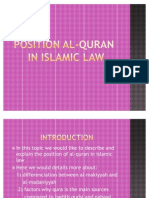 The Position of Al-Quran in Islamic Law