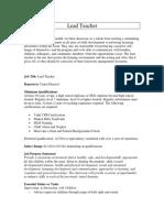 lead teacher job description