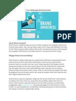 7 Cara Membangun Brand Awareness