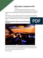 BMW 3 series SWOT Analysis plus marketing mix