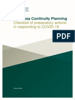 Business Continuity Planning Checklist COVID 19