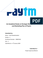 An Analytical Study on Strategic Management and Marketing Plan of Paytm