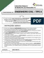 IDIB - PREFEITURA DE ARAGUAINA - ENGENHARIA CIVIL - PROVA - 2020
