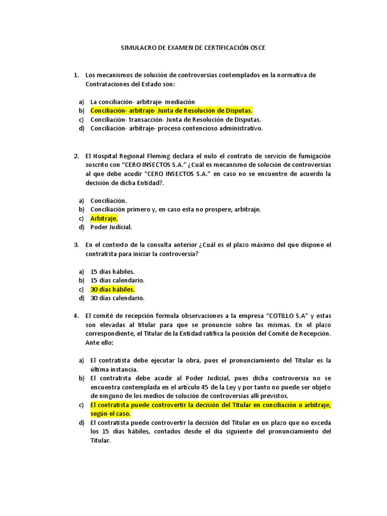 Preguntas Para Examen De Certificacion Osce Decimo Examen Arbitraje Gobierno