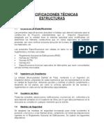 ESPECIFICACIONES  -  ESTRUCTURAS