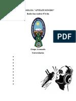APTHAPI SONORO documento  oficial del programa radial