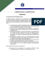Manifiesto de la Cámara Venezolana de la Construcción - Abril 2020