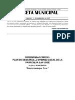 ordenanza sobre el plan desarrollo urbano local de la parroquia san jos