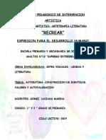 PROYECTO PEDAGOGICO DE INTERVENCION ARTISTICA RECREAR