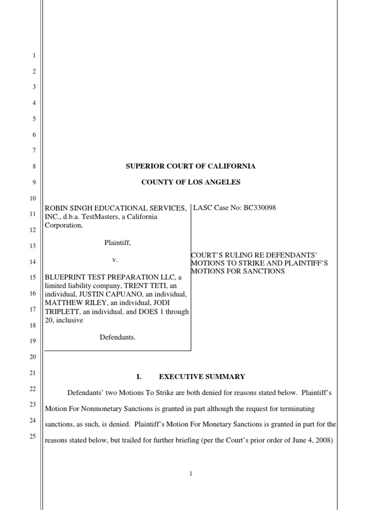 Blueprint sanctions order discovery law lawsuit malvernweather Gallery