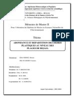 ABONDANCE ET REPARTITION DES DEBRIS PLASTIQUES AU NIVEAU DES PLAGES DE BEJAIA.pdf