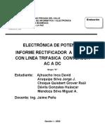 RECTIFICADOR  A DIODOS CON LINEA TRIFASICA  CONVERSOR AC A DC GRUPO 6