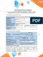 Guía de actividades y rúbrica de evaluación – Paso 3 – Evaluar alternativas de inversión y tomar decisiones financieras