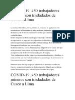 450 MINEROS SON TRASLADADOS DE CUSCO A LIMA