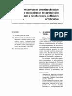 SAÉNZ DÁVALOS. Los procesos constitucionales como mecanismos de protección frente a resoluciones judiciales arbitrarias