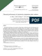1. Thermal performance of automotive aluminium plate radiator