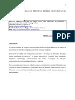 PRINCIPAIS TEORIAS SOCIOLÓGICAS DA EDUCAÇÃO