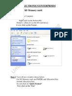 Formatting  a SD Memory Crd