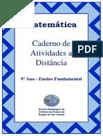 Caderno de atividades de matemática a distância - quarentena 9ª ano Ensino fundamental
