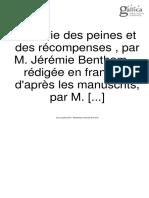 Bentham- Théorie des peines et des récompenses  (Dumont) tome 1er 1811